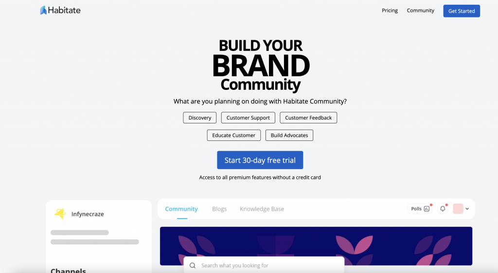 Habitate website - build a brand community